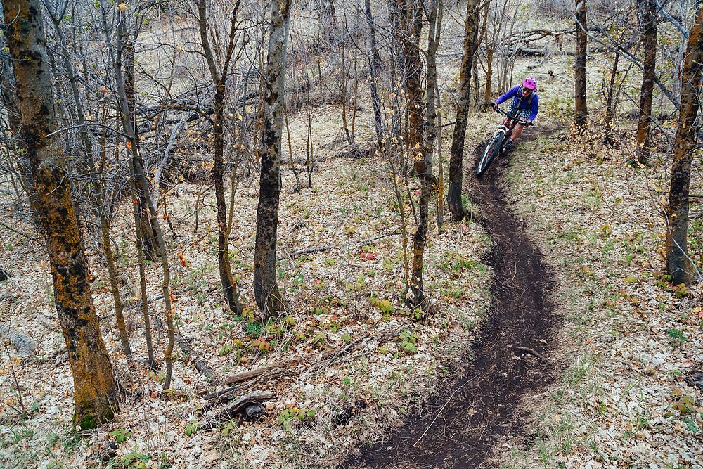 Heather Goodrich rides spring singletrack through a mini forest eco-system in Pocatello Idaho.