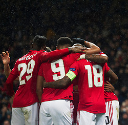 Marcus Rashford of Manchester United (Hidden) celebrates after scoring his sides third goal - Mandatory by-line: Jack Phillips/JMP - 07/11/2019 - FOOTBALL - Old Trafford - Manchester, England - Manchester United v Partizan - UEFA Europa League
