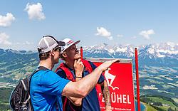 05.06.2019, Streif, Kitzbühel, AUT, FIS Weltcup Ski Alpin, im Bild v.l. Hannes Reichelt, Manuel Feller // v.l. Hannes Reichelt, Manuel Feller during a media Event of the Austrian Ski Association (ÖSV) at the Streif in Kitzbühel, Austria on 2019/06/05. EXPA Pictures © 2019, PhotoCredit: EXPA/ Stefan Adelsberger