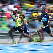 Usain Bolt, Jamaica, wins the Men's 200m from  Zharnel Hughes, during the Diamond League Adidas Grand Prix at Icahn Stadium, Randall's Island, Manhattan, New York, USA. 13th June 2015. Photo Tim Clayton