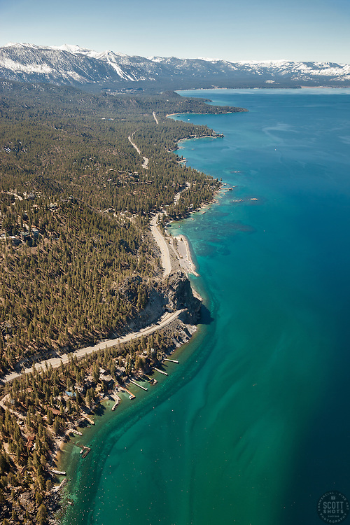 """""""Lake Tahoe Aerial 6"""" - Aerial photograph of Lake Tahoe's East shore shot from a helicopter with the door removed. Cave Rock can be seen in the center of the photo."""