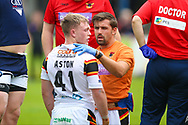 Bradford Bulls scrum half Cory Aston (41) gets treatment for what looked like a bad injury at the time during the Kingstone Press Championship match between Swinton Lions and Bradford Bulls at the Willows, Salford, United Kingdom on 20 August 2017. Photo by Simon Davies.