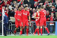 Philippe Coutinho of Liverpool (2nd right)) celebrates with his teammates after scoring his teams 1st goal. Capital One Cup Final, Liverpool v Manchester City at Wembley stadium in London, England on Sunday 28th Feb 2016. pic by Chris Stading, Andrew Orchard sports photography.