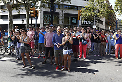 August 18, 2017 - unknown - Barcelona, Spain, August 18, 2017 : Barcelona citizens clapping at the end of the minute of silence held at Plaza Catalonia on the day after a terrorist white van running over tourist pedestrians walking down the Rambla on August 17, 2017 around 05:00pm. Photo credit : Marc Javierre-Kohan / Aurimages (Credit Image: © Marc Javierre Kohan/Aurimages via ZUMA Press)