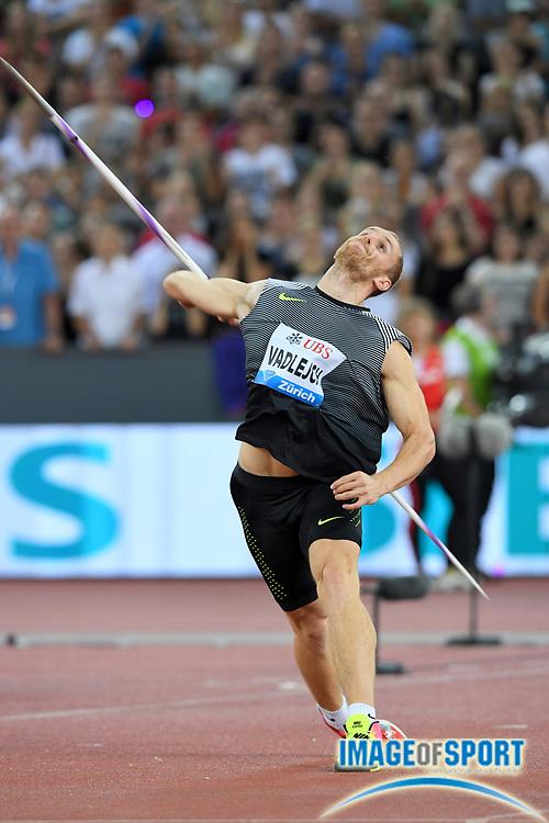 Sep 1, 2015; Zurich, SWITZERLAND; Jakub Vadlejch (CZE) wins the javelin at 286-4 (87.28m) at the 2016 Weltklasse Zurich during an IAAF Diamond League meeting at Letzigrund Stadium. Photo by Jiro Mochizuki