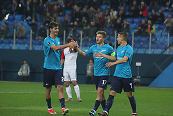 November 23, 2017 - Saint-Petersburg, Russia - Of The Russian Federation. Saint-Petersburg. Arena Saint-Petersburg. Zenit-arena. Football match of the UEFA Europa League, group stage: Zenit - FK Vardar. The player of football club..Dmitry Poloz; Oleg Shatov; Alexander Erokhin. (Credit Image: © Russian Look via ZUMA Wire)