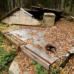 The remains of an old camp near East Inlet in Pittsburg, New Hampshire.