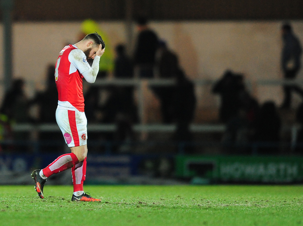 Fleetwood Town's Jimmy Ryan looks dejected at the final whistle<br /> <br /> Photographer Chris Vaughan/CameraSport<br /> <br /> Football - The Football League Sky Bet League One - Rochdale v Fleetwood Town - Tuesday 23rd February 2016 - Scotland - Rochdale   <br /> <br /> © CameraSport - 43 Linden Ave. Countesthorpe. Leicester. England. LE8 5PG - Tel: +44 (0) 116 277 4147 - admin@camerasport.com - www.camerasport.com