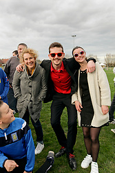 07 April 2018. Blaringhem, Pas de Calais, France.<br /> Phase District Festival U13 Pitch - Festival Foot U13. A tournament of 8 teams.<br /> Coach Cedric and parents of US Montreuil Sur Mer U13a and U13 girls teams with coaches and parents.<br /> Photo©; Charlie Varley/varleypix.com