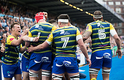 Cardiff Blues' Jarrod Evans celebrates with team mates after their first try was scored<br /> <br /> Photographer Simon King/Replay Images<br /> <br /> European Rugby Challenge Cup - Semi Final - Cardiff Blues v Pau - Saturday 21st April 2018 - Cardiff Arms Park - Cardiff<br /> <br /> World Copyright © Replay Images . All rights reserved. info@replayimages.co.uk - http://replayimages.co.uk