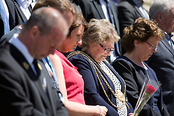 © Licensed to London News Pictures. 03/07/2015. Leeds, UK. The people of Leeds held a minute's silence today, a week after the Tunisia terror attacks which claimed the lives of a couple from the city.. Photo credit : Andrew McCaren/LNP
