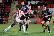Omari Sterling-James on the attack during the Sky Bet League 2 match between Cheltenham Town and Morecambe at Whaddon Road, Cheltenham, England on 16 January 2015. Photo by Alan Franklin.