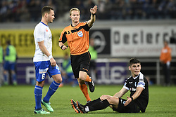 April 17, 2018 - Gent, BELGIUM - referee Bart Vertenten pictured in action during the Jupiler Pro League match between KAA Gent and KRC Genk, in Gent, Tuesday 17 April 2018, on day four of the Play-Off 1 of the Belgian soccer championship. BELGA PHOTO YORICK JANSENS (Credit Image: © Yorick Jansens/Belga via ZUMA Press)