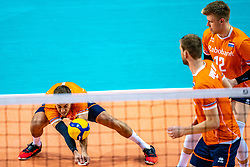 Gijs Jorna of Netherlands in action during the CEV Eurovolley 2021 Qualifiers between Sweden and Netherlands at Topsporthall Omnisport on May 14, 2021 in Apeldoorn, Netherlands