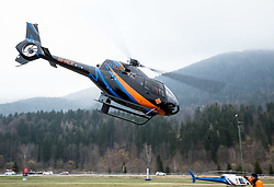 Team Austria in a Flycom's helicopter from Kranjska Gora to Planica prior to the Ski Flying Hill Men's Team Competition at Day 3 of FIS Ski Jumping World Cup Final 2017, on March 25, 2017 in Kranjska Gora, Slovenia. Photo by Vid Ponikvar / Sportida