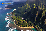 Aerial view of  Keʻe Beach and the  Napali Coastline in Kauai, Hawaii, USA