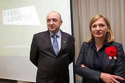 Darijan Kosir, director of Slovenian Government Communication Office and Polona Preseren at presentation of Eurobasket Slovenia 2013, on September 8, 2011, in Hotel Novotel,  Vilnius, Lithuania.   (Photo by Vid Ponikvar / Sportida)