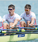 Belgrade, SERBIA, GBR M4X. Bow pair left. Sam TOWNSEND and Graeme THOMAS,  Heats at the  2014 FISA European Rowing Championships. Lake Sava. <br /> <br /> <br /> 12:15:04  Friday  30/05/2014<br /> <br /> [Mandatory Credit; Peter Spurrier/Intersport-images] 2014 FISA European Rowing Championships. Lake Sava. <br /> <br /> <br /> 12:15:07  Friday  30/05/2014<br /> <br /> [Mandatory Credit; Peter Spurrier/Intersport-images] 2014 FISA European Rowing Championships. Lake Sava. <br /> <br /> <br /> 12:15:08  Friday  30/05/2014<br /> <br /> [Mandatory Credit; Peter Spurrier/Intersport-images]