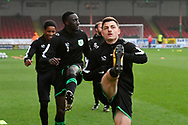 Otis Khan (7) of Yeovil Town warming up before the EFL Sky Bet League 2 match between Swindon Town and Yeovil Town at the County Ground, Swindon, England on 10 April 2018. Picture by Graham Hunt.