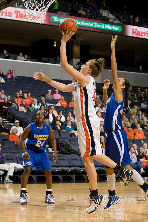 Virginia forward Kelly Hartig (42) shoots against Morehead St.  The Virginia Cavaliers women's basketball team defeated the Morehead State Eagles 88-43 at the John Paul Jones Arena in Charlottesville, VA on February 4, 2008.