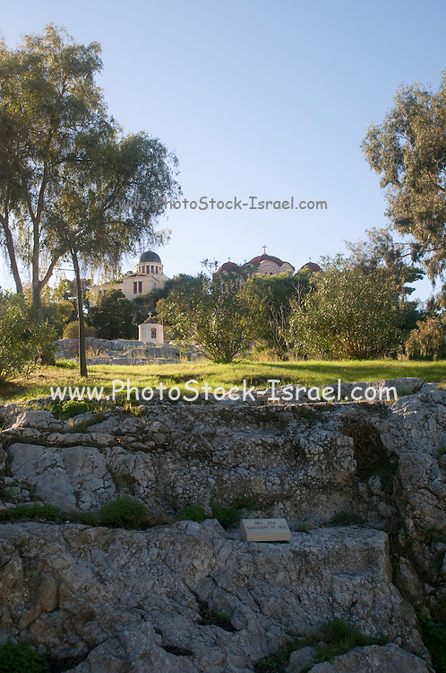 Greece, Athens, the Sanctuary of Zeus, a no walled open-air sanctuary dedicated to Zeus Polieus (city protector) around 500 BC on the Acropolis of Athens,