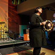 ARLINGTON, VA - April 7th, 2012 -  Mike Schulman, Pam Berry and Brian Nelson of seminal Washington, D.C. indie-pop band Black Tambourine perform at Artisphere in Arlington, VA.  The band reunited to play their first gigs since 1991 for the 20th anniversary party for Chickfactor Magazine.  (Photo by Kyle Gustafson/For The Washington Post)