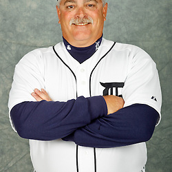 February 28, 2012; Lakeland, FL, USA; Detroit Tigers bullpen coach Mike Rojas (59) poses for photo day in the rec room at the Detroit Tigers Headquarters.  Mandatory Credit: Derick E. Hingle-US PRESSWIRE