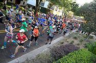 Runners make their way past the start line during the IOA Corporate 5K in Orlando, Fla., Thursday, April 13, 2017. (Phelan M. Ebenhack via AP)