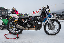Mikhail Lyubimov's Harley-Davidson Sportster that he got to 164 kmh (102 mph) on the mile-long ice track in the Baikal Mile Ice Speed Festival. Maksimiha, Siberia, Russia. Thursday, February 27, 2020. Photography ©2020 Michael Lichter.