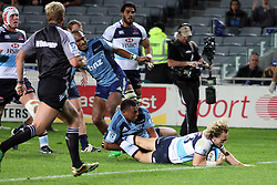 Ryan Cross dives over to score a try. Investec Super Rugby - Blues v Waratahs, Eden Park, Auckland, New Zealand. Saturday 16 April 2011. Photo: Clay Cross / photosport.co.nz