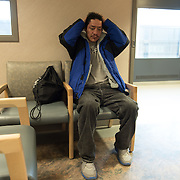 Date: 2/6/15<br /> Desk: SCI<br /> Slug: SUPER UTILIZERS<br /> Assign Id: 30170556A<br /> <br /> Prugh Jose, 42, who is homeless and a client of the Hennepin Health RESOURCE Chemical and Mental Health emergency department in reach program in Minneapolis (Hennepin County), Minnesota shows up to a scheduled dental appointment at the Hennepin County Medical Center's Dental & Oral Surgery Clinic on February 6, 2015. His case manager, TJ Redig, accompanied him to the appointment. <br /> <br /> Photo by Angela Jimenez for The New York Times <br /> photographer contact 917-586-0916