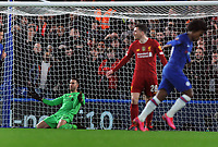 Football - 2019 / 2020 Emirates FA Cup - Fifth Round: Chelsea vs. Liverpool<br /> <br /> Willian of Chelsea scores his first half goal past the helpless Liverpool goalkeeper, Adrian, at Stamford Bridge.<br /> <br /> COLORSPORT/ANDREW COWIE