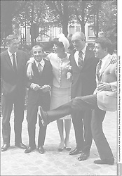 © Lecoeuvre/ABACA. 49814-8. Jacques Brel, Charles Aznavour, Eddie Barclay and Philippe Nicaud at Barclay's wedding in June 1965 .
