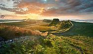 Hadrians Wall near Houseteads Roman Fort, Vercovicium, A UNESCO World Heritage Site, Northumberland, England, UK