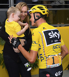 July 23, 2017 - Paris, France - PARIS, FRANCE - JULY 23 : FROOME Christopher of Team Sky with his wife and child after the finish during stage 21 of the 104th edition of the 2017 Tour de France cycling race, a stage of 103 kms between Montgeron and Paris Champs-Elysees on July 23, 2017 in Paris, France, 23/07/17 (Credit Image: © Panoramic via ZUMA Press)