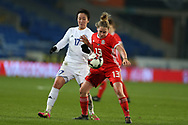 Karina Zhumabaikyzy of Kazakhstan (17) challenges  Rachel Rowe of Wales (13).Wales Women v Kazakhstan Women, 2019 World Cup qualifier match at the Cardiff City Stadium in Cardiff , South Wales on Friday 24th November 2017.    pic by Andrew Orchard