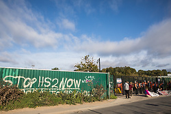 Environmental activists from HS2 Rebellion sit behind banners to block a gate providing access to a site for the HS2 high-speed rail link on 12 September 2020 in Harefield, United Kingdom. Anti-HS2 activists continue to try to prevent or delay works on the controversial £106bn HS2 high-speed rail link in the Colne Valley where thousands of trees have already been felled.