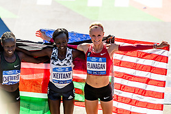 04-11-2018 USA: 2018 TCS NYC Marathon, New York<br /> Race day  TCS New York City Marathon / (L-R) Vivian Cheruiyot, Mary Keitany,  Shalane Flanagan finish third in 2:26:22 (United States)