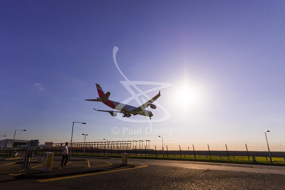 An Airbus A340 lands at London's Heathrow Airport (LHR / EGLL).