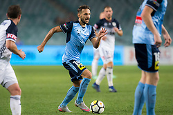 April 13, 2018 - Sydney, NSW, U.S. - SYDNEY, NSW - APRIL 13: Sydney FC midfielder Milos Ninkovic (10) looks for options to pass the ball to at the A-League Soccer Match between Sydney FC and Melbourne Victory on April 13, 2018 at Allianz Stadium in Sydney, Australia. (Photo by Speed Media/Icon Sportswire) (Credit Image: © Speed Media/Icon SMI via ZUMA Press)