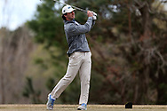 WILMINGTON, NC - MARCH 19: UNC Wilmington's Stephen Saleeby tees off on the Marsh Course first hole. The first round of the 2017 Seahawk Intercollegiate Men's Golf Tournament was held on March 19, 2017, at the Country Club of Landover Nicklaus Course in Wilmington, NC.