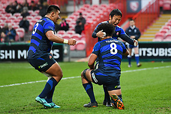 Hendrik Tui of Japan celebrates scoring his sides third try with team-mates<br /> <br /> Photographer Craig Thomas<br /> <br /> Japan v Russia<br /> <br /> World Copyright ©  2018 Replay images. All rights reserved. 15 Foundry Road, Risca, Newport, NP11 6AL - Tel: +44 (0) 7557115724 - craig@replayimages.co.uk - www.replayimages.co.uk