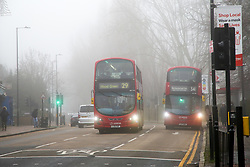 © Licensed to London News Pictures. 28/12/2020. London, UK. Fog shrouds public transport during freezing fog in north London as many parts of the UK wakes to further freezing temperatures. Photo credit: Dinendra Haria/LNP