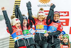26.02.2019, Seefeld, AUT, FIS Weltmeisterschaften Ski Nordisch, Seefeld 2019, Skisprung, Damen, Siegerehrung, im Bild Silbermedaillengewinnerin Eva Pinkelnig (AUT), Jacqueline Seifriedsberger (AUT), Chiara Hoelzl (AUT), Daniela Iraschko-Stolz (AUT) // Silver medalist Eva Pinkelnig Jacqueline Seifriedsberger Chiara Hoelzl Daniela Iraschko-Stolz of Austria during the winner ceremony for the ladie's Skijumping HS109 competition of FIS Nordic Ski World Championships 2019. Seefeld, Austria on 2019/02/26. EXPA Pictures © 2019, PhotoCredit: EXPA/ Stefan Adelsberger