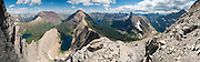 See Rising Wolf Mountain (9513 feet/2899 meters) from Flinsch Peak (9225 feet/2812 meters) above Dawson Pass, Oldman Lake (left), Young Man Lake, Two Medicine Lake, Glacier National Park, Montana, USA. (Panorama stitched from 15 overlapping images.)