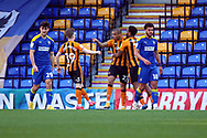 GOAL 0-1, penalty, Hull City attacker Josh Magennis (27) during the EFL Sky Bet League 1 match between AFC Wimbledon and Hull City at Plough Lane, London, United Kingdom on 27 February 2021.
