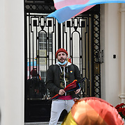 Around hundreds of protesters against the Hungarian government's law prohibiting LGBT content in schools or children's television, Outlaws sharing information perceived to promote homosexuality with under-18s outside the Hungarian embassy in London, 22 June 2021.