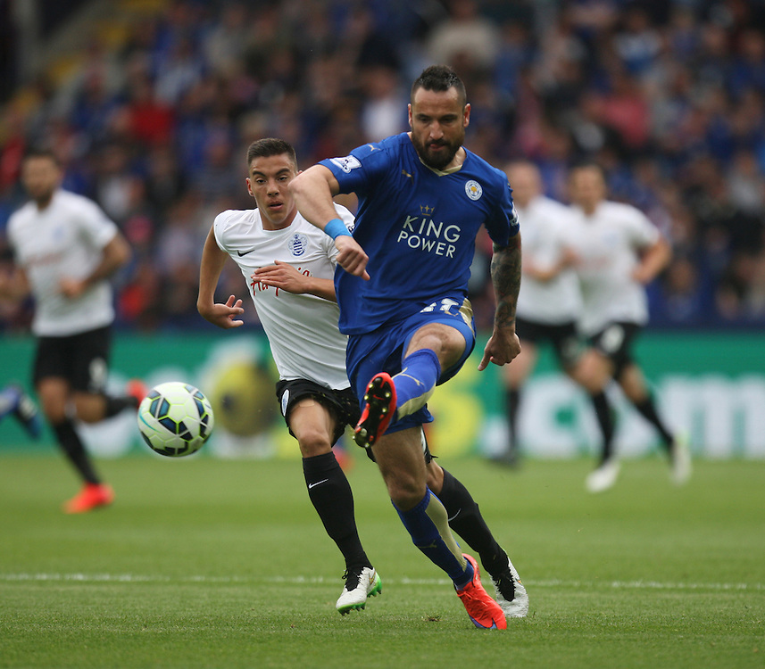 Leicester City's Marcin Wasilewski (R) and Queens Park Rangers' Reece Grego-Cox in action during todays match  <br /> <br /> Photographer Jack Phillips/CameraSport<br /> <br /> Football - Barclays Premiership - Leicester City v Queens Park Rangers - Sunday 24th May 2015 - King Power Stadium - Leicester<br /> <br /> © CameraSport - 43 Linden Ave. Countesthorpe. Leicester. England. LE8 5PG - Tel: +44 (0) 116 277 4147 - admin@camerasport.com - www.camerasport.com