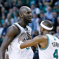 13 February 2013: Boston Celtics power forward Kevin Garnett (5) is congratulated by Boston Celtics shooting guard Jason Terry (4) during the Boston Celtics 71-69 victory over the Chicago Bulls at the TD Garden, Boston, Massachusetts, USA.