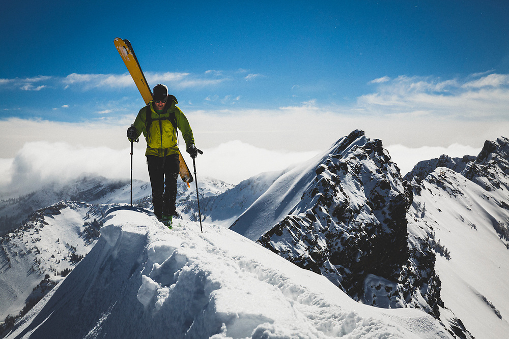 Rob Lea booting Cardiac Ridge in the Central Wasatch Mountains, Utah.